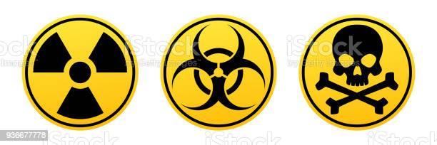 Gevaar Gele Vector Tekenen Straling Teken Biohazard Teken Giftige Teken Stockvectorkunst en meer beelden van Afval
