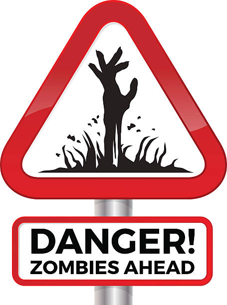 Danger Zombie Sign vector art illustration