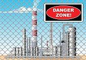 Vector Danger Zone Symbol at Plant Grid.