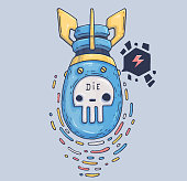 Dangerous air bomb. Cartoon illustration for print and web. Character in the modern graphic style.