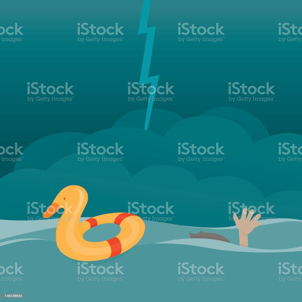 Dangerous Drowning Situation royalty-free stock vector art