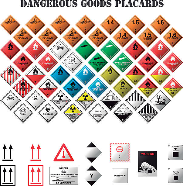 dangerous goods placards set of dangerous goods placards on white background hazardous chemicals stock illustrations