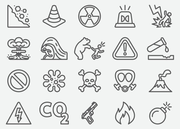 Dangerous Line Icons Dangerous Line Icons demolished stock illustrations