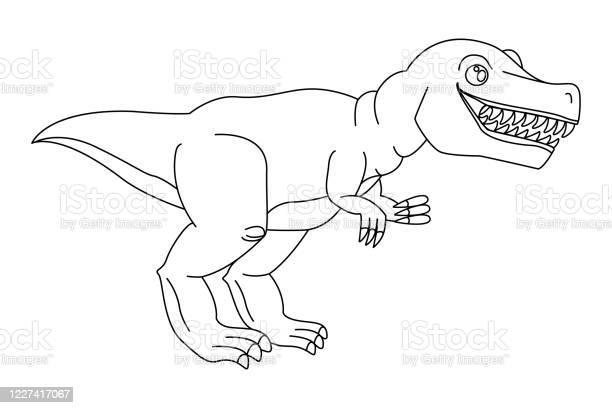 Dangerous Predator Tyrannosaurus Rex Open Mouth Drawn Closeup Prehistoric Extinct Animal Coloring Page Book For Children