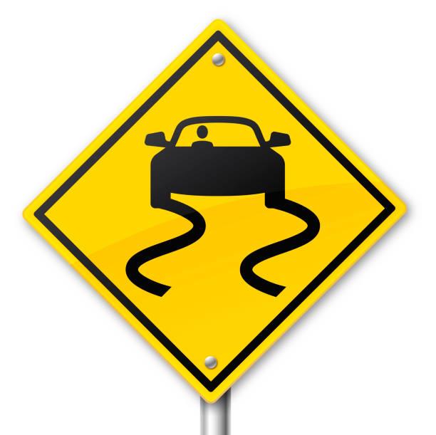 stockillustraties, clipart, cartoons en iconen met waarschuwingsbord voor gevaarlijke weg - tractieapparaat