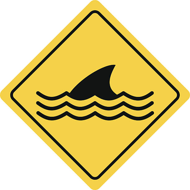 Dangerous Sea Life Sign Dangerous Sea Life Sign animal fin stock illustrations