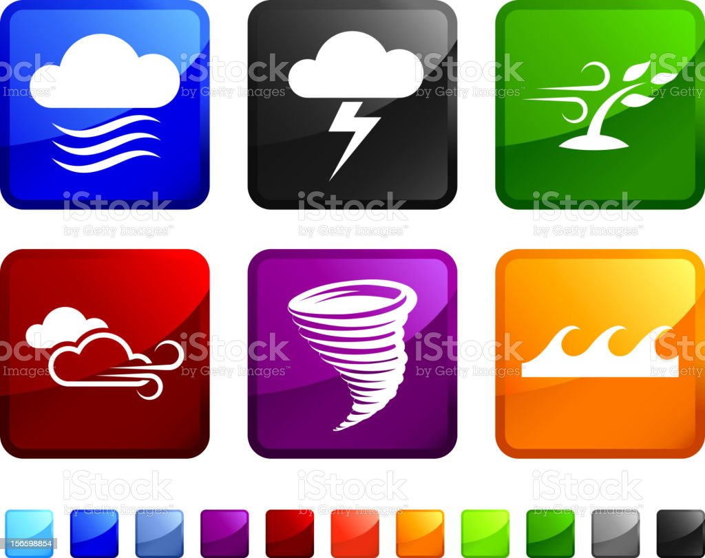 Dangerous Weather royalty free vector icon set stickers royalty-free stock vector art