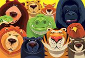 vector illustration of group of dangerous wild animals gathering