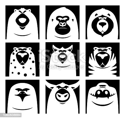 vector illustration of dangerous wild animals icons