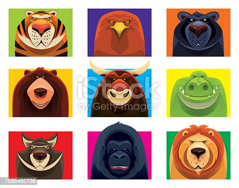 vector illustration of group of dangerous wild animals looking at you