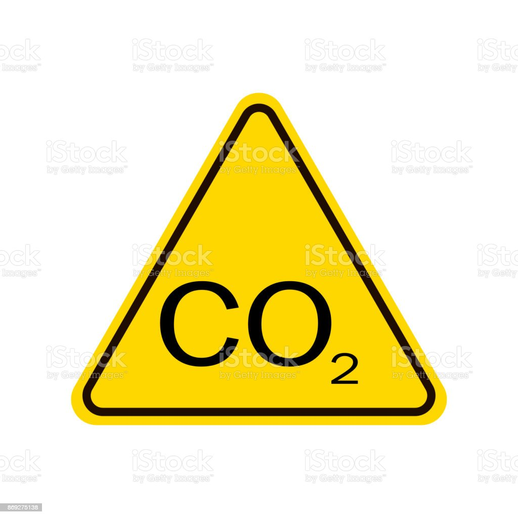 Danger-warning-attention sign CO2. Yellow background vector art illustration