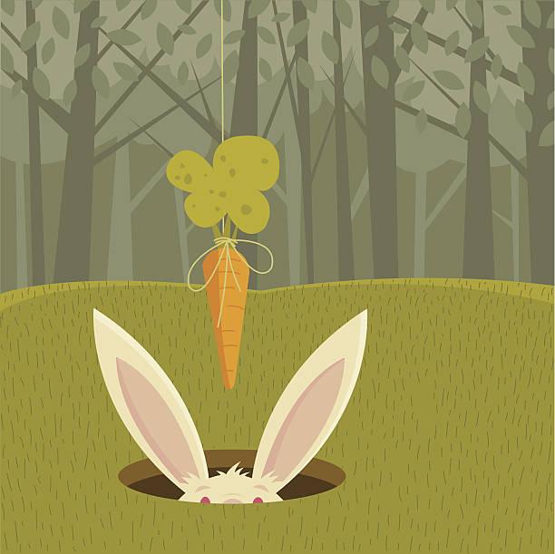 dangling a carrot-englische redewendung - kaninchenbau stock-grafiken, -clipart, -cartoons und -symbole