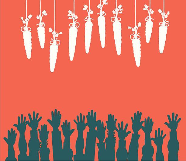 Dangling Carrot on a Stick -  Temptation Background vector art illustration