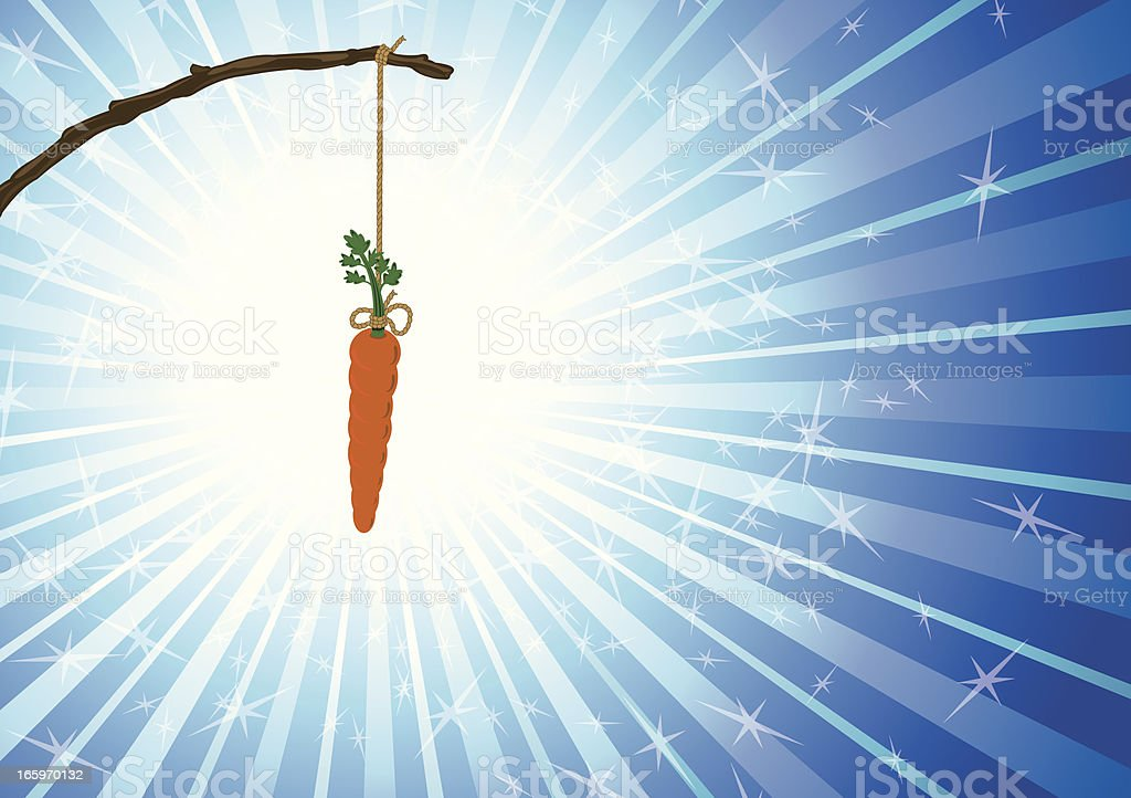 Dangling Carrot on a Stick -  Temptation royalty-free stock vector art
