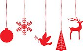 Vector illustration of five different dangling  christmas ornaments.