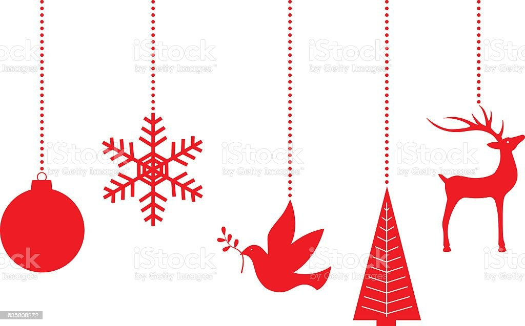 Dangling Red Christmas Ornaments vector art illustration