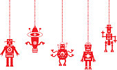 Vector illustration of five red robot christmas ornaments hanging from little chains.