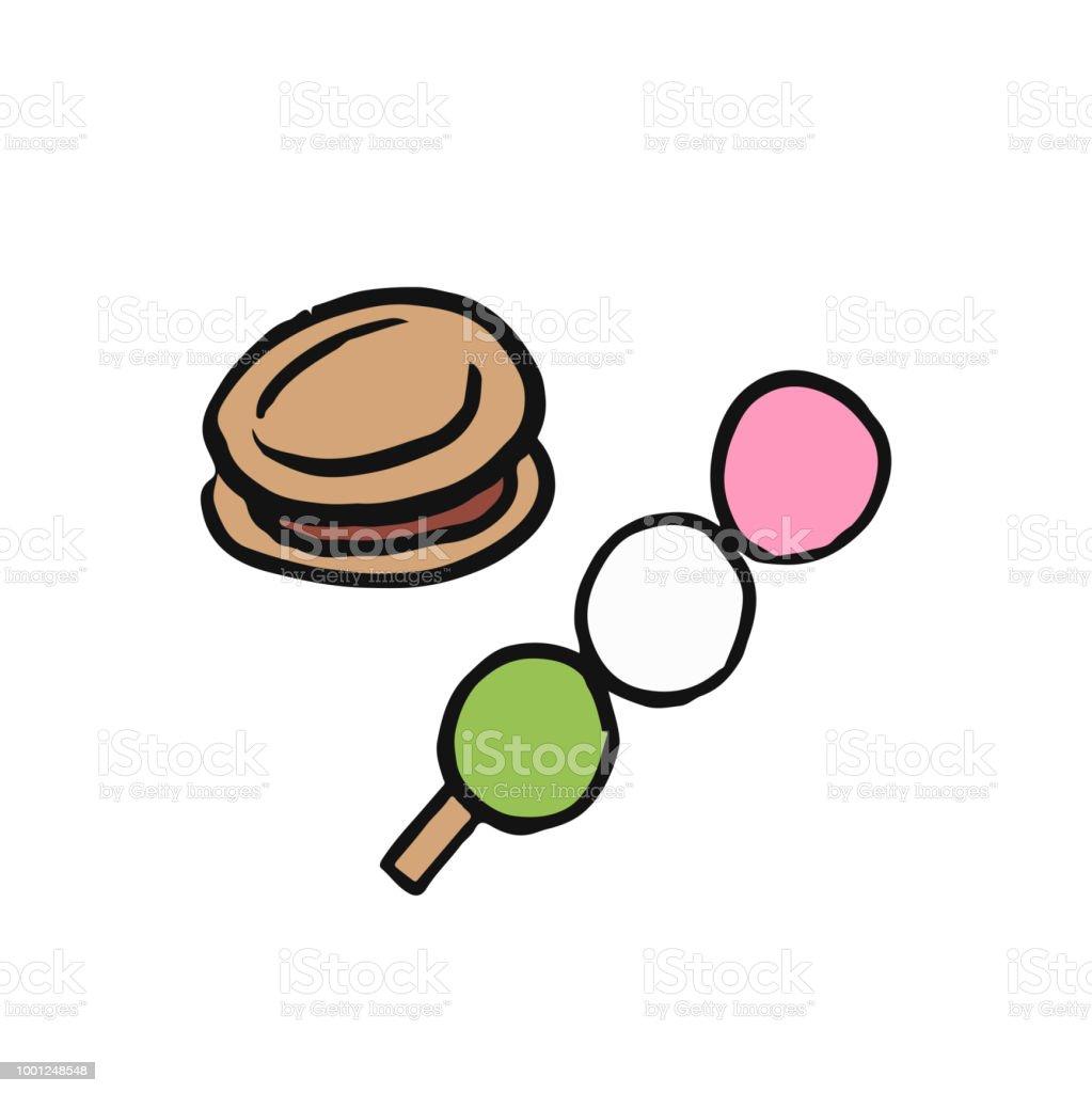 だんごどら焼き日本語デザートのイラスト おにぎりのベクターアート