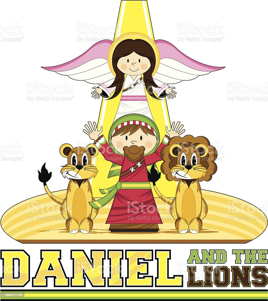 Daniel & the Lions Bible Illustration royalty-free daniel the lions bible illustration stock vector art & more images of adult