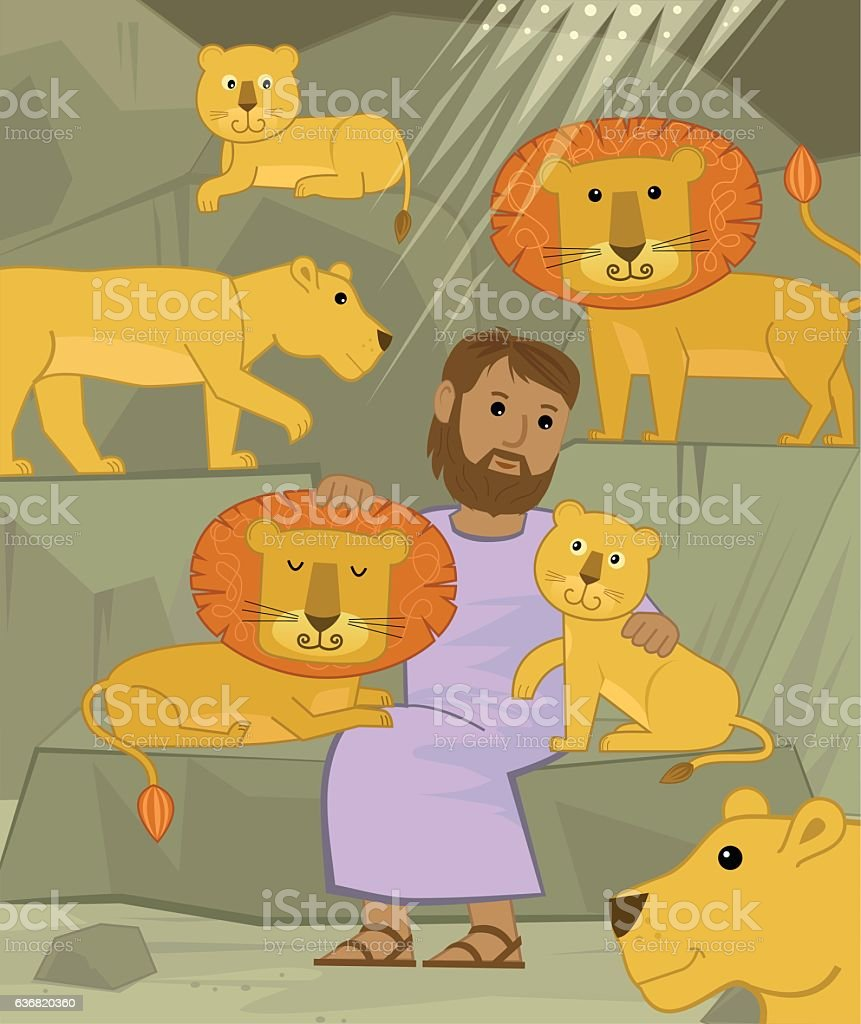 Daniel With Lions vector art illustration