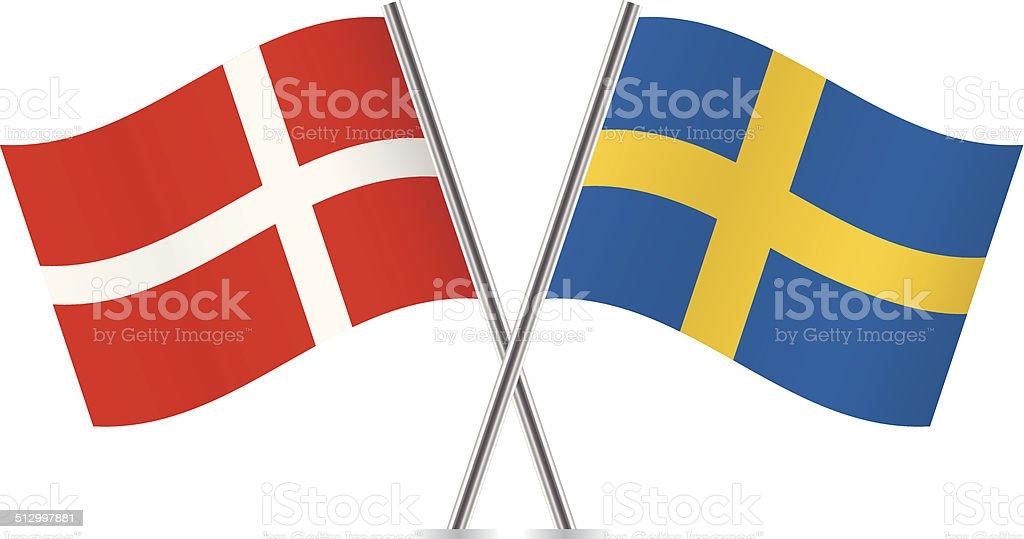 デンマークとスウェーデンの国旗。 ベクトルます。 ベクターアートイラスト