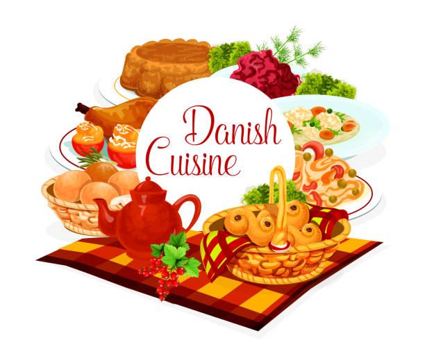 bildbanksillustrationer, clip art samt tecknat material och ikoner med danska köket mat rätter måltider, restaurang meny - lucia