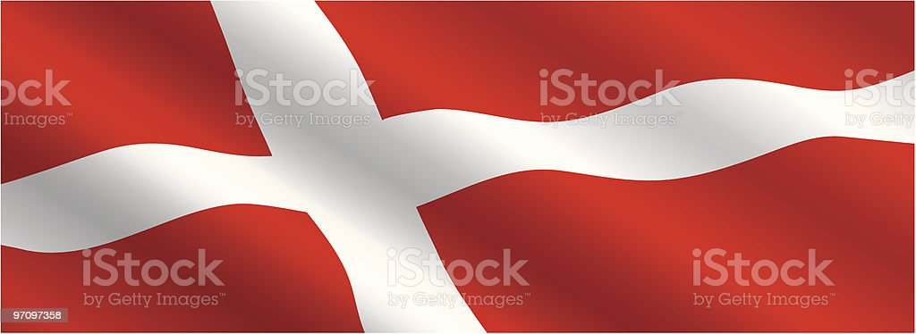 Danish Flag Flying in the Wind royalty-free stock vector art