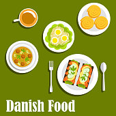 Danish cuisine with sandwiches on rye bread with salted salmon, lemon and cucumber, chicken soup with melboller dumplings and meatballs, egg salad, cup of coffee with cinnamon rolls. Flat style