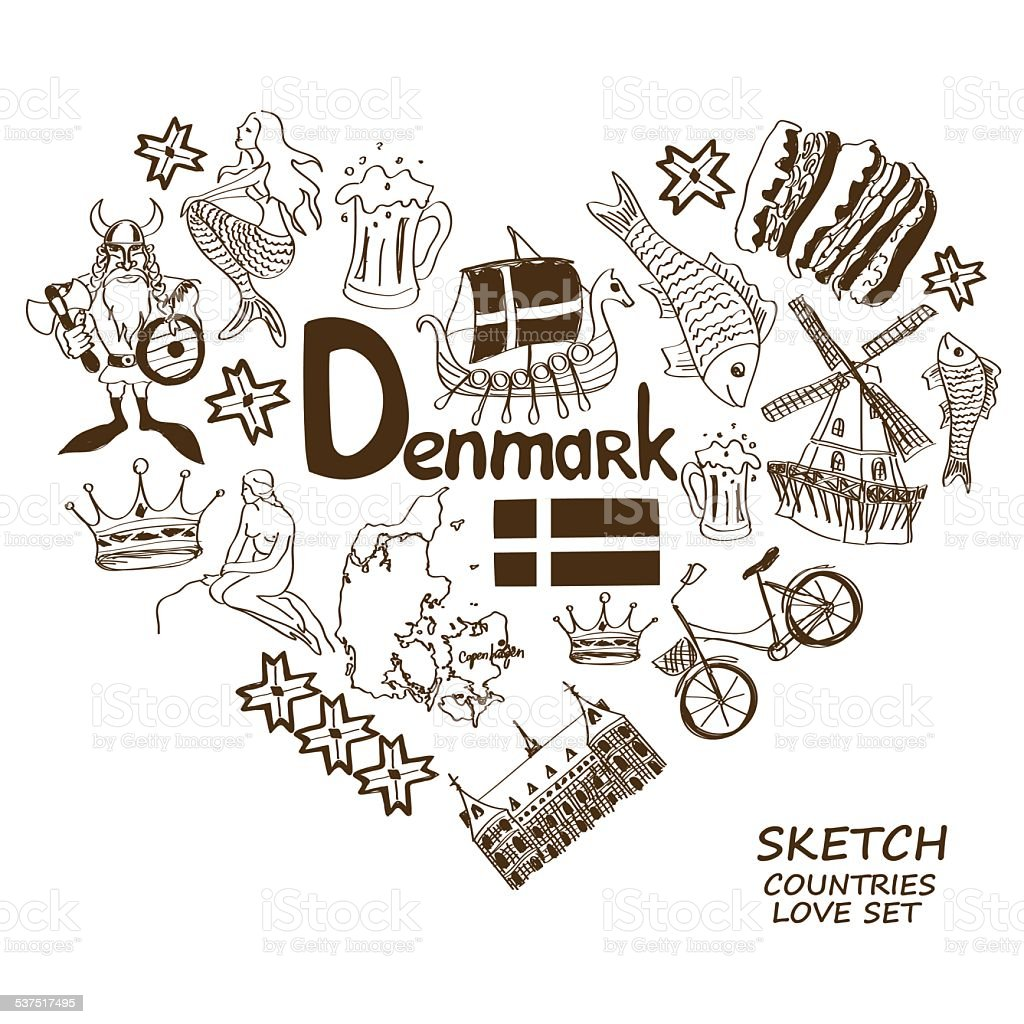 Danish symbols in heart shape concept vector art illustration