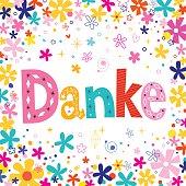 Danke - Thanks in German unique lettering floral card