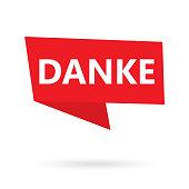 danke word (thank you in german) on a speach bubble