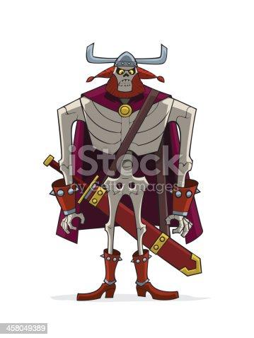 Danse Macabre. Viking skeleton in helm with horns.