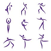 Dansing abstract people, symbols - Illustration