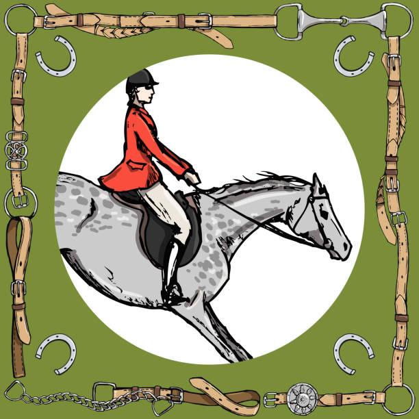 dapple grauer reiter in ledergürtel rahmen mit bit, hufeisen. pferdesport fuchs jagt reiter in roter jacke. - langstreckenlauf stock-grafiken, -clipart, -cartoons und -symbole