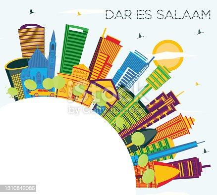 istock Dar Es Salaam Tanzania City Skyline with Color Buildings, Blue Sky and Copy Space. 1310842086