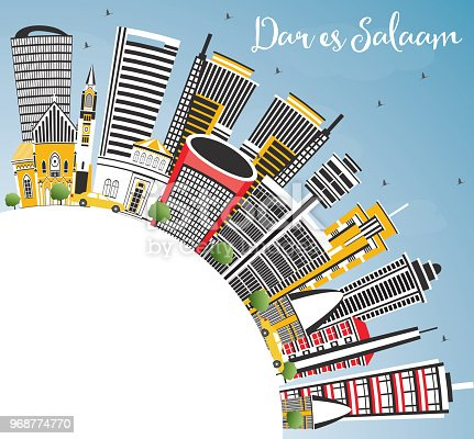 istock Dar Es Salaam Tanzania City Skyline with Color Buildings, Blue Sky and Copy Space. 968774770