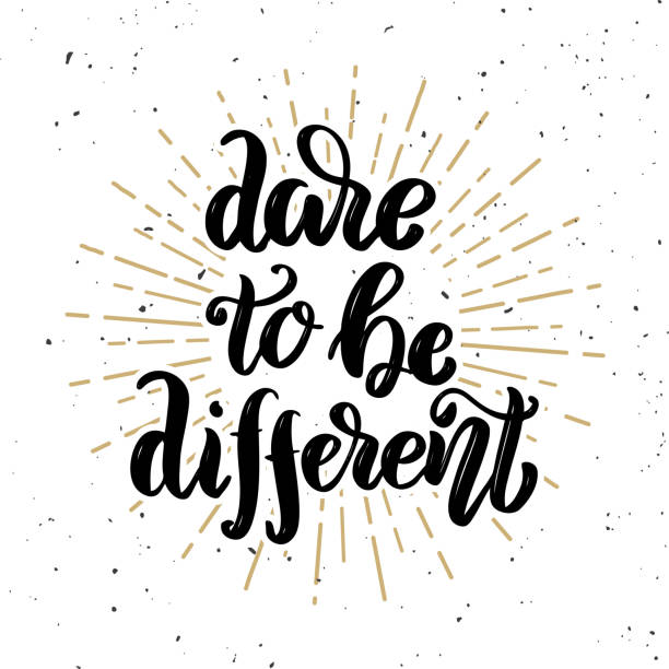 Dare to be different. Hand drawn motivation lettering quote. Dare to be different. Hand drawn motivation lettering quote. Design element for poster, banner, greeting card. Vector illustration inspirational quotes stock illustrations