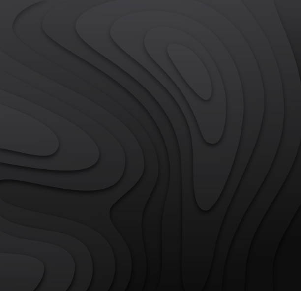Dark 3D Topographic Layers Dark black 3d cut-out paper topography layers background. contour line stock illustrations
