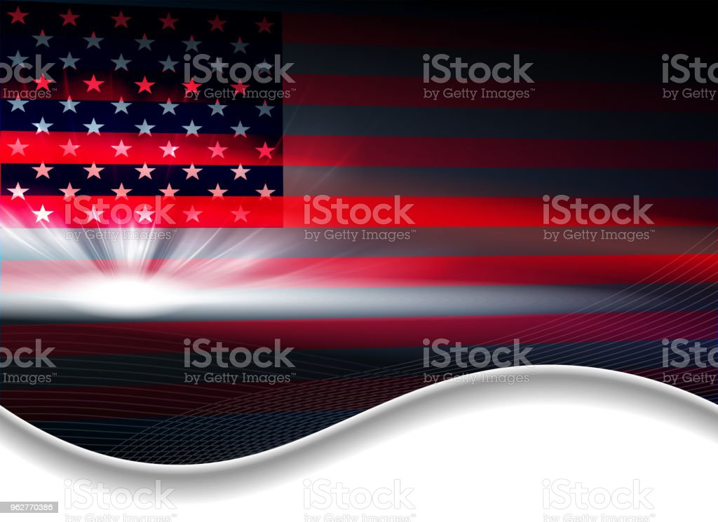 Dark abstract background with a USA flag. - arte vettoriale royalty-free di A forma di stella