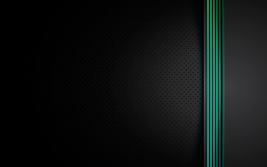 Dark abstract background with black overlap layers. Texture with blue and green gradient line decoration.