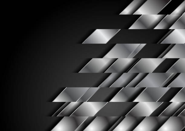 Dark abstract technology background with metallic shapes vector art illustration