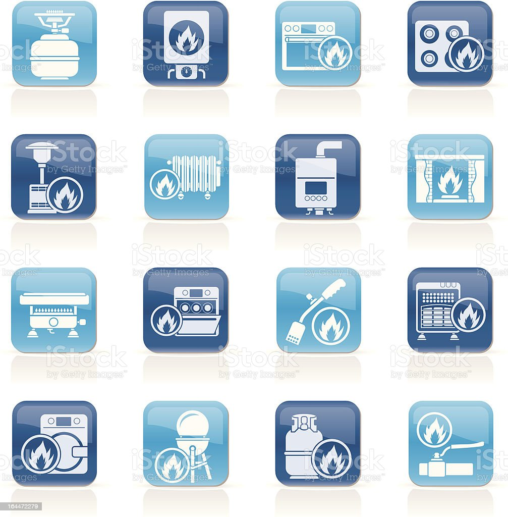 Dark and light blue icons with white household gas appliance vector art illustration