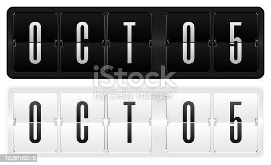 istock Dark and light calendar theme- 5 October 1328159279