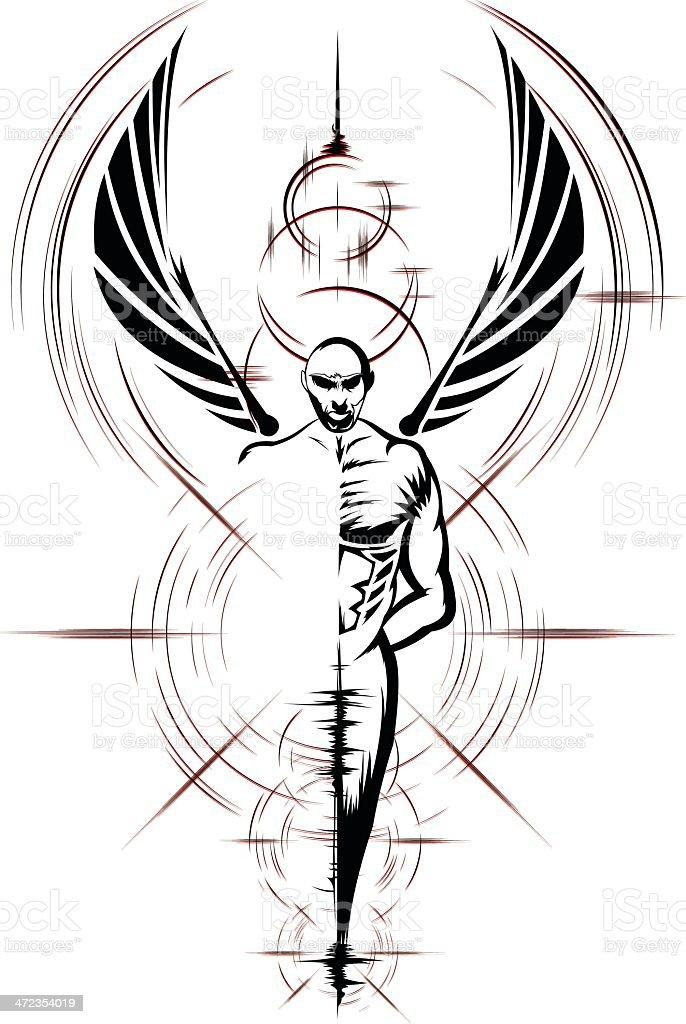 Oscuridad Angel - ilustración de arte vectorial