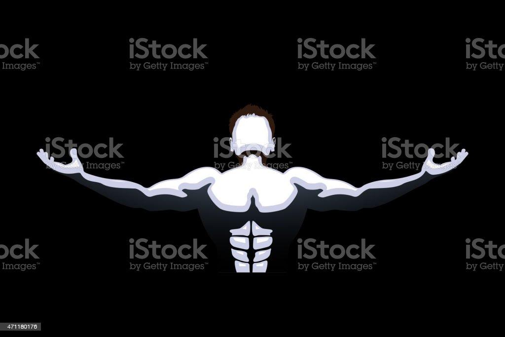 dark athlete vector art illustration