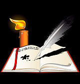 black background, image of the open book with empty pages and burning candle