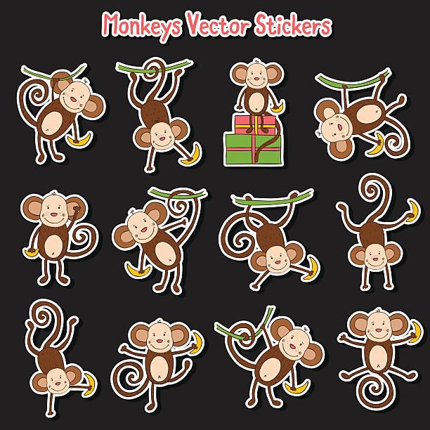濃い色の背景にカラー面白い猿 - 野生動物のカレンダー点のイラスト素材/クリップアート素材/マンガ素材/アイコン素材