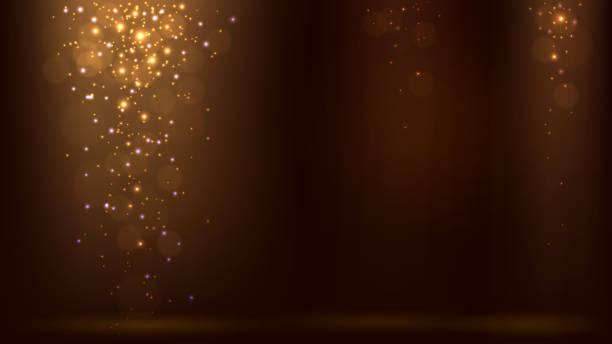ilustrações, clipart, desenhos animados e ícones de fundo escuro com raios de luz e brilhos de ouro caindo - eventos de gala