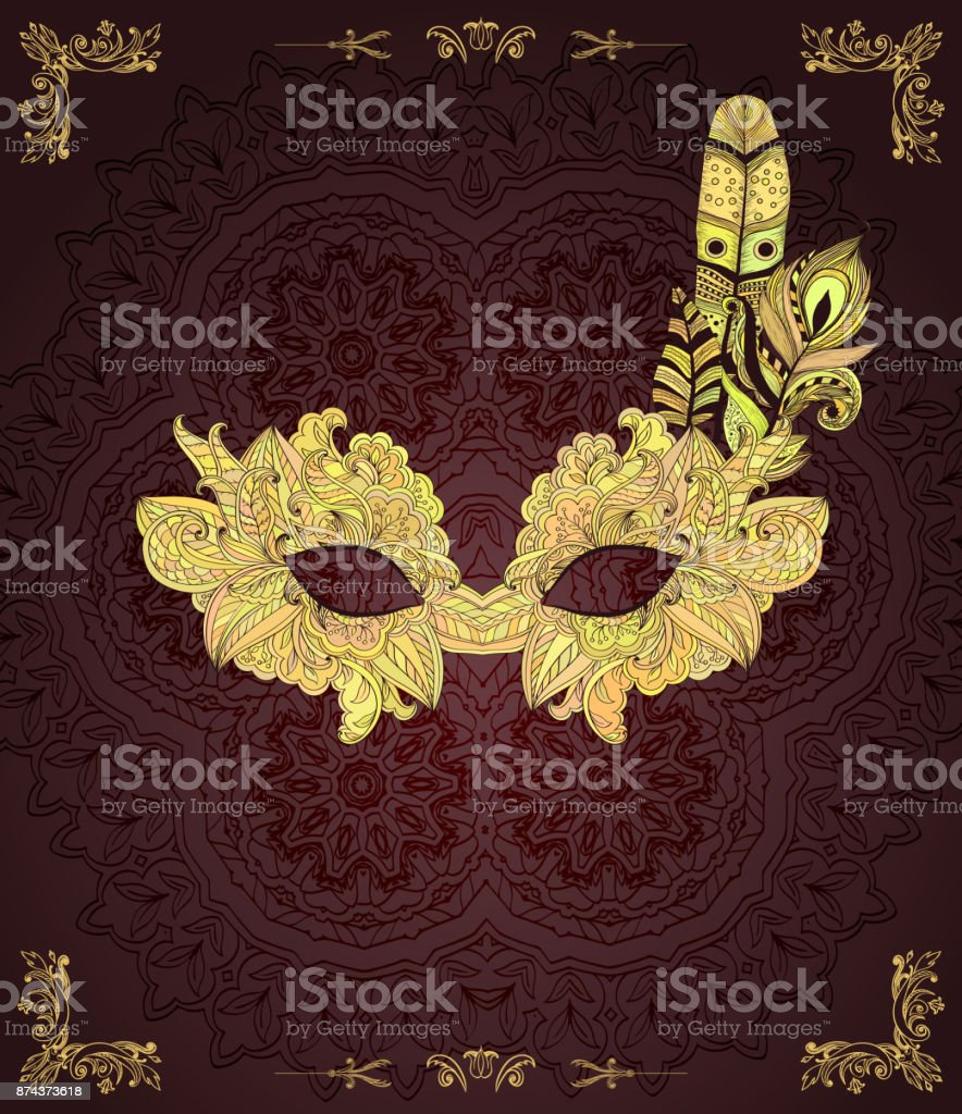 Dark background with mask with feathers vector art illustration
