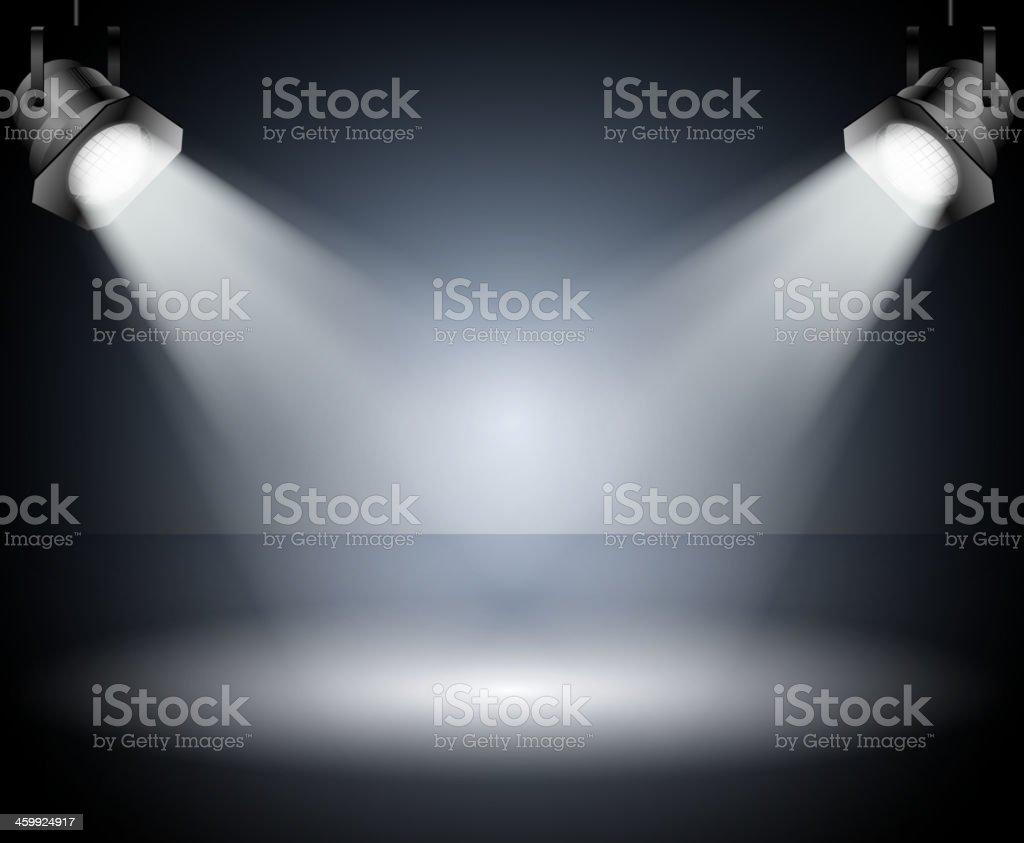 Dark background with spotlights. Studio. vector art illustration